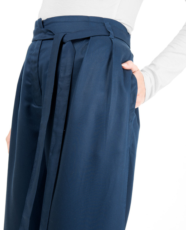 Blue Inverted Double Pleat Trouser