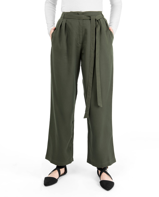 Military Green Inverted Double Pleat Trouser