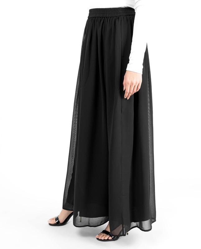Black Flared Lined Skirt