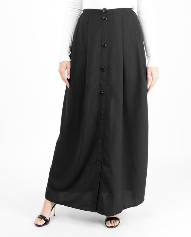 Black Mock Button Skirt