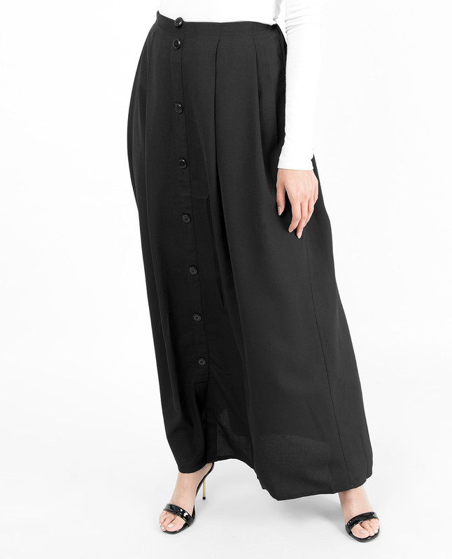 Black Mock Button Skirt