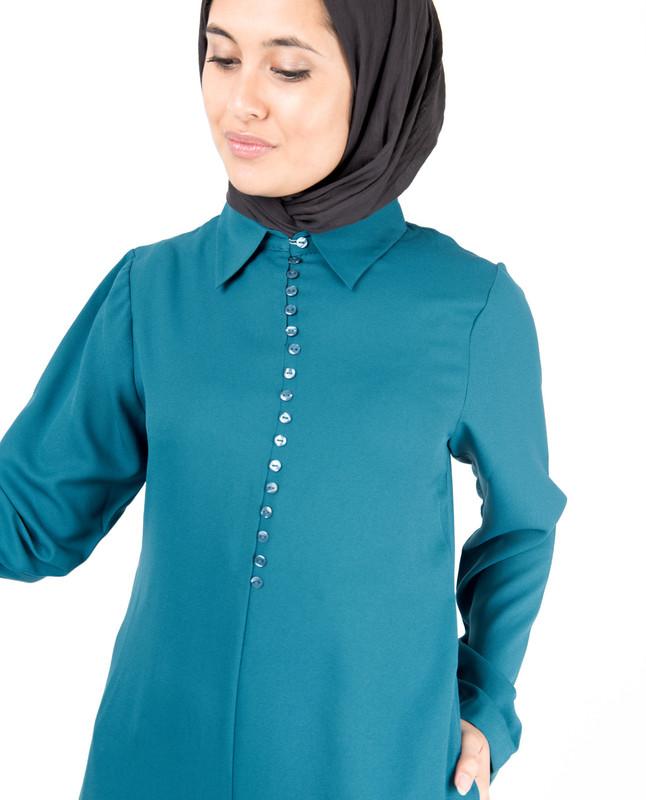 Deep Teal Fabric Button Abaya