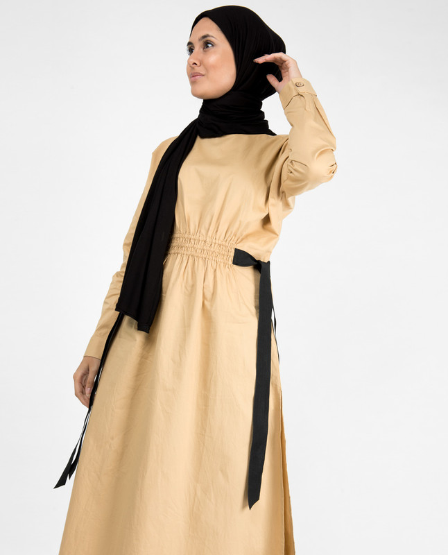 Biscuit Beige Boat Neck Long Top