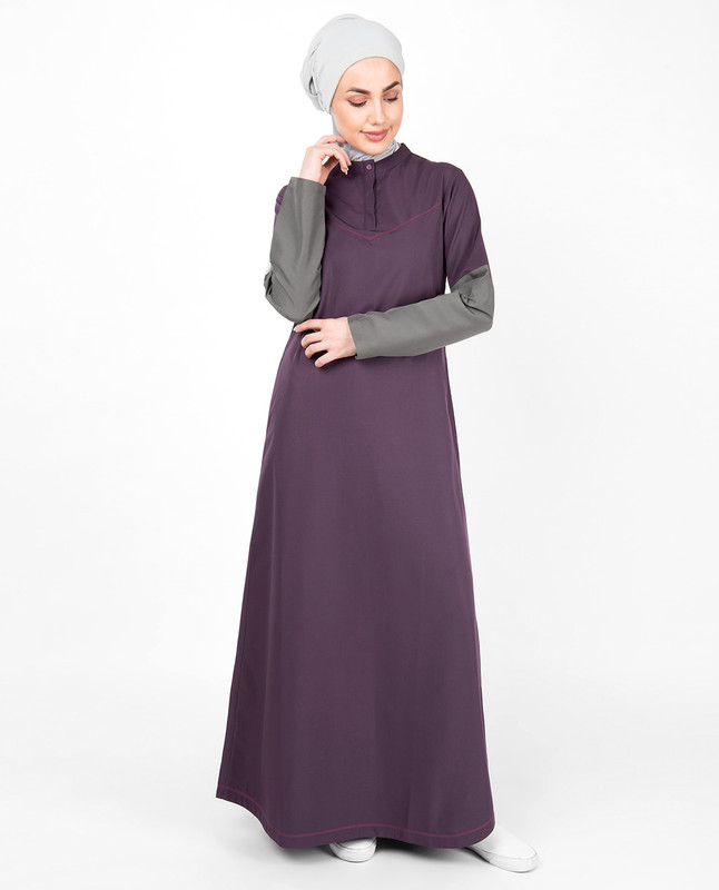 Purple Contrast Sleeve Jilbab