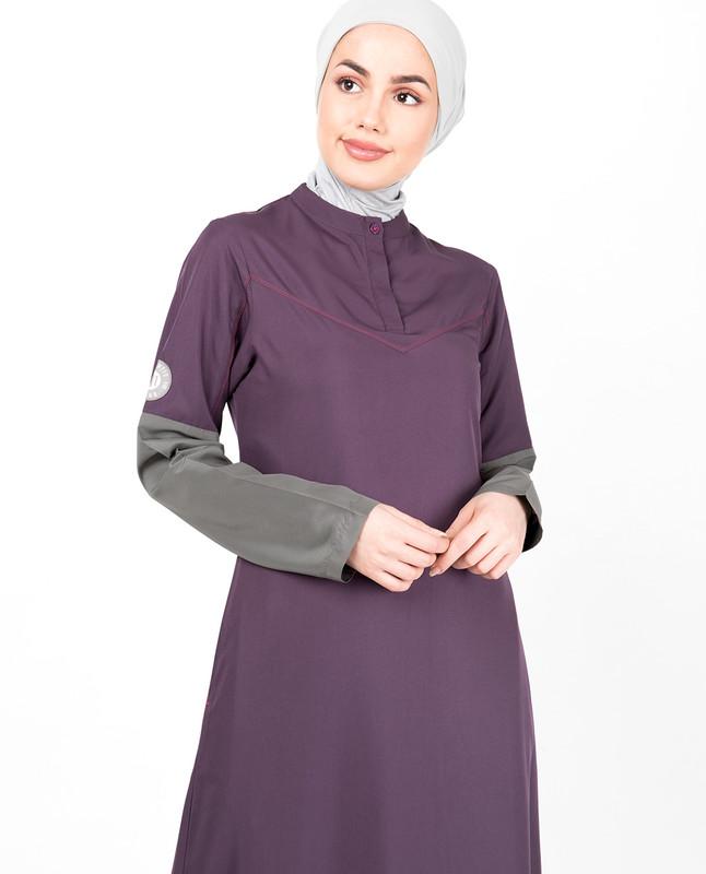 Purple Contrast Sleeve Jilbab