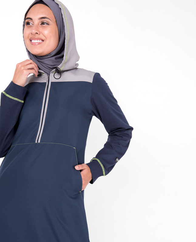 Deep Blue Hooded Kangaroo Pocket Jilbab
