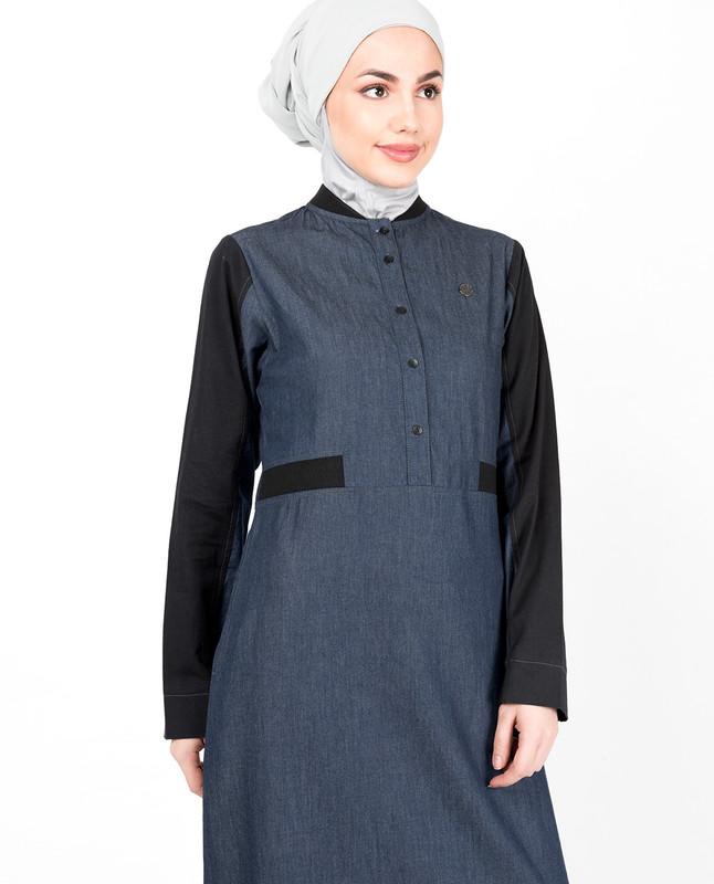 Blue Denim Contrast Sleeve Jilbab