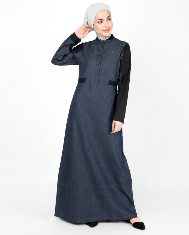 Blue Denim Contrast Sleeve Jilbab