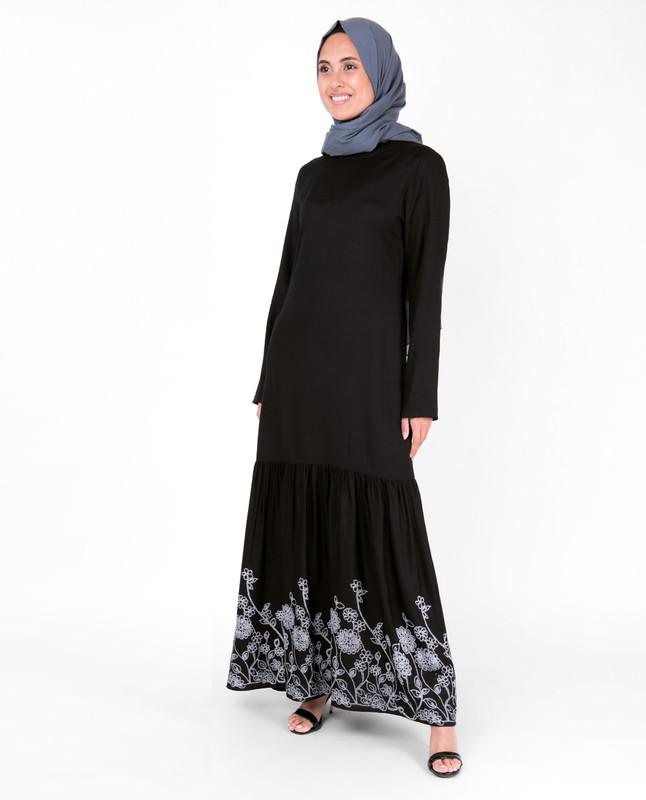 Black Floral Print Gathered Abaya
