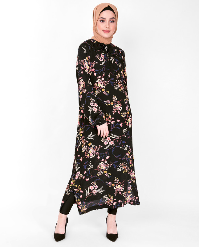 Floral Neck Tie Midi Dress
