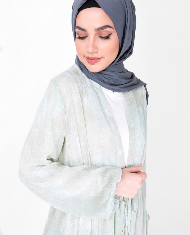 Mint Gathered Full Front Open Sheer Outerwear