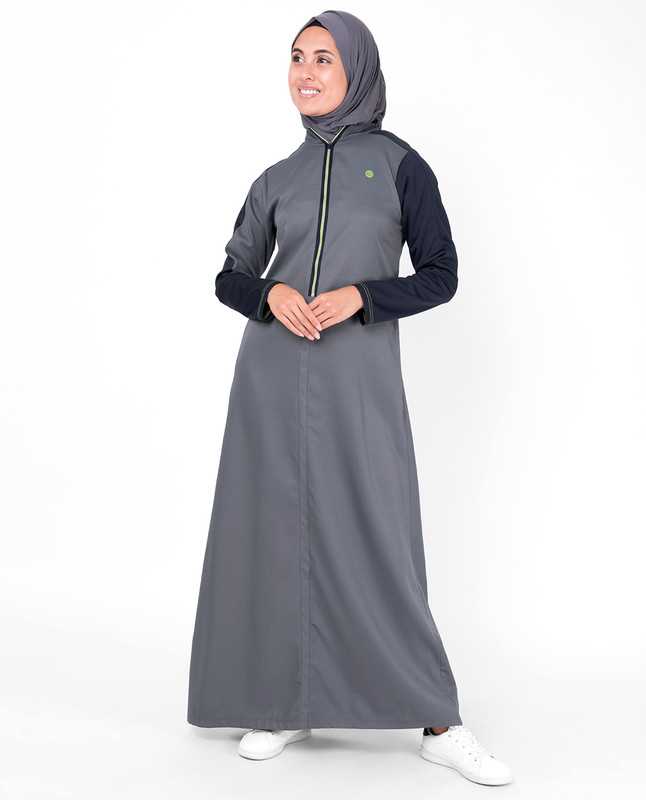 Grey and Navy Raised Neck Zipper Jilbab