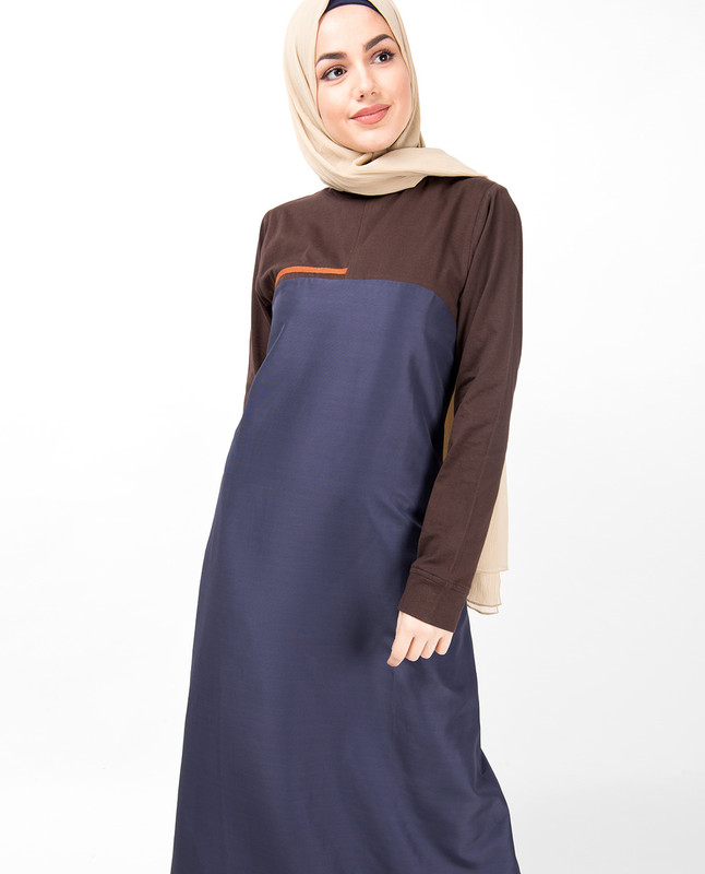Graystone Blue Shoulder Opening Jilbab