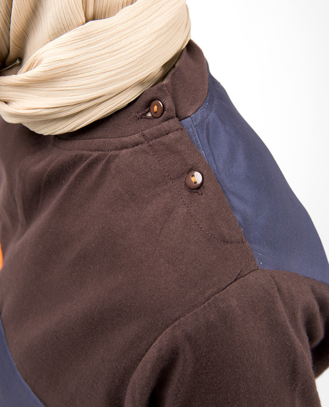 Graystone Blue Shoulder Opening Jilbab