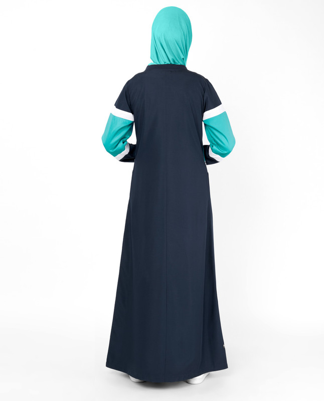 Navy Contrast Arrow Panel Jilbab
