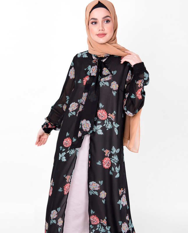 Black Floral Neck Tie Up Outerwear