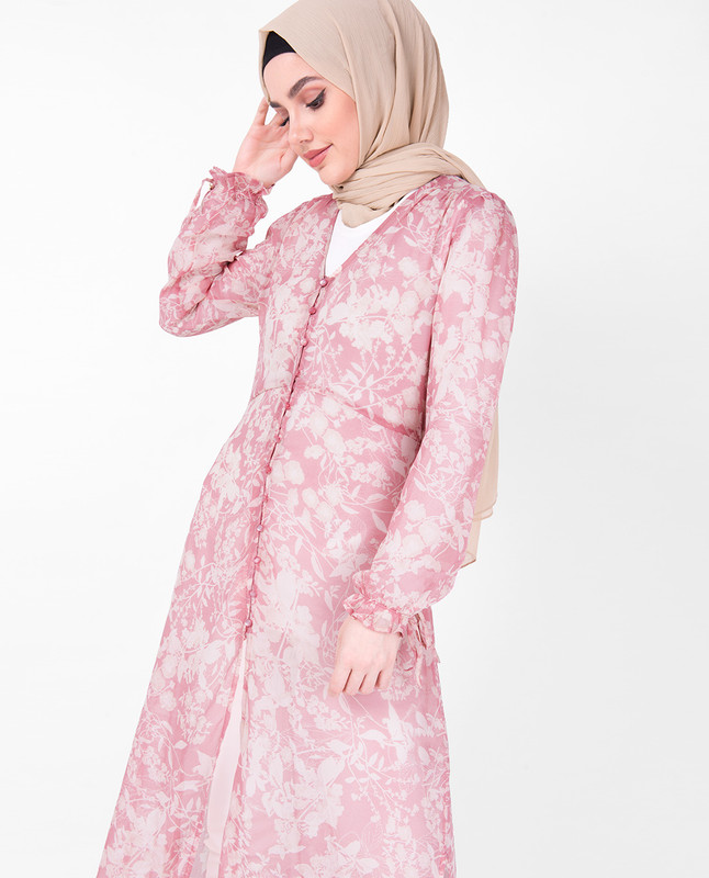 V Neck Pink Floral Sheer Outerwear