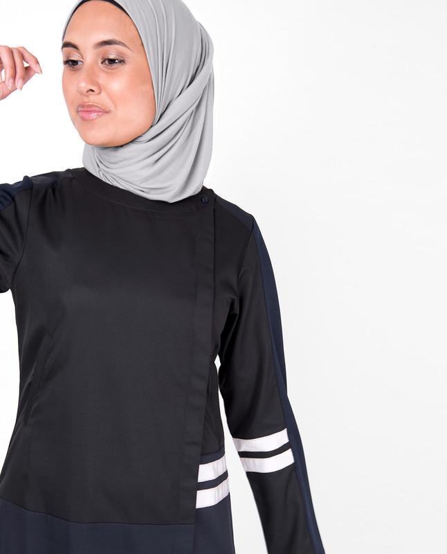 Blue and Black Concealed Open Jilbab