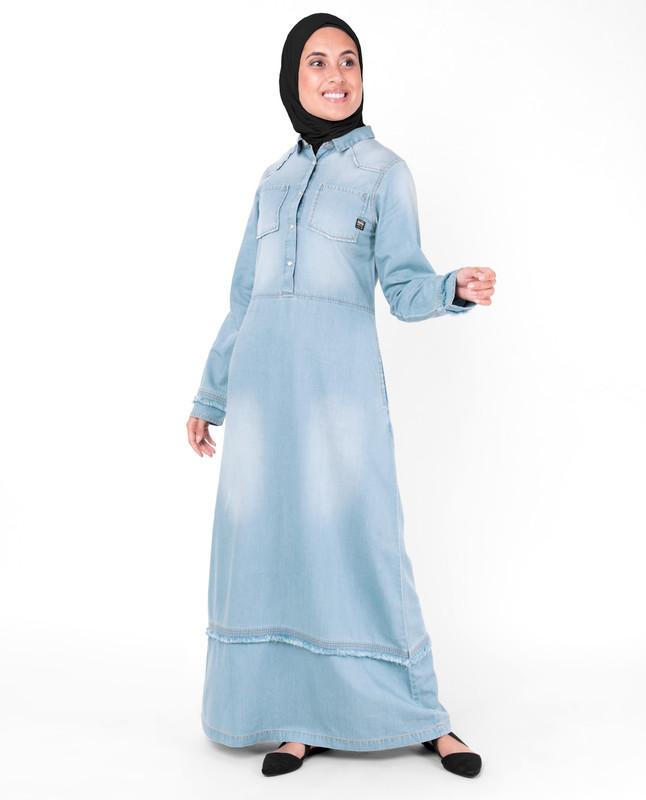 Sun Faded Bleach Blue Denim Abaya