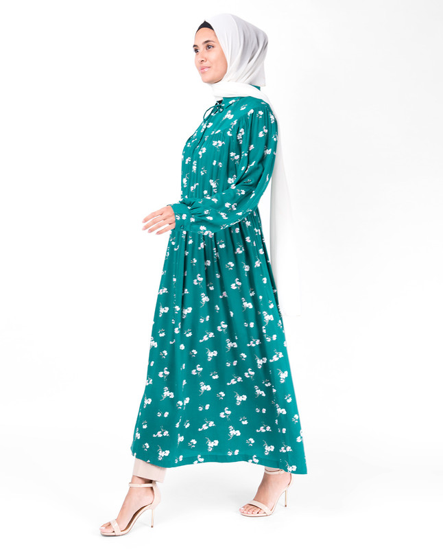 Teal Gathered Waist Midi Dress