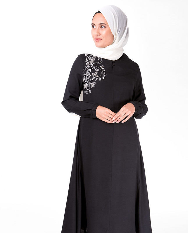 Black Mandarin Collar Embroidery Midi