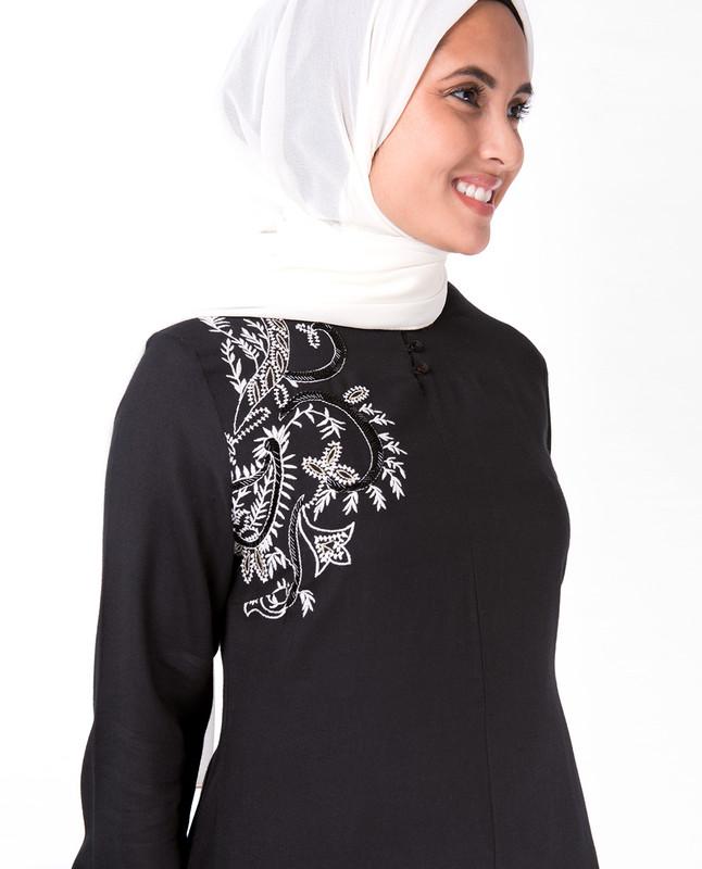Black Mandarin Collar Embroidery Midi