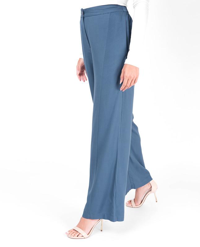 Extendable Waist Blue Palazzo Trouser