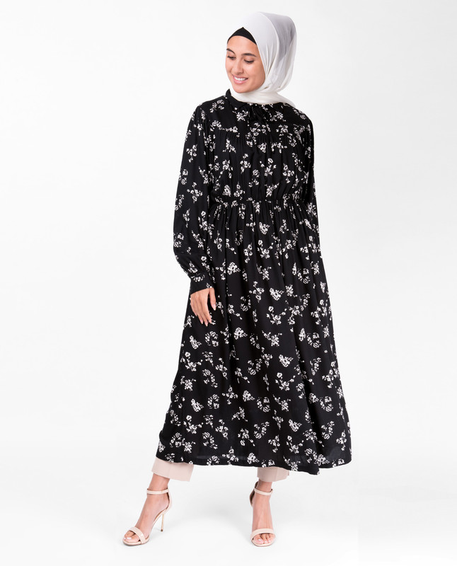 Black Floral Gathered Waist Midi Dress