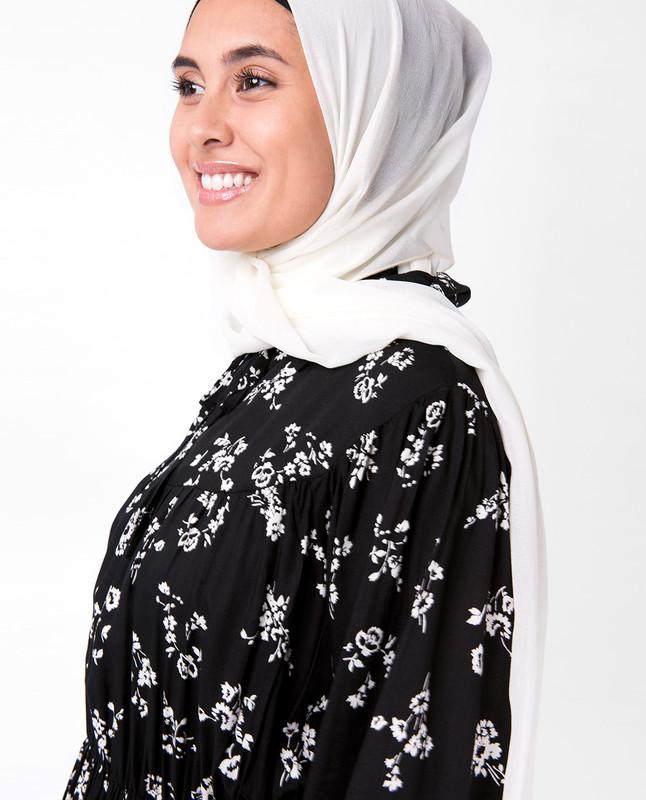 Black Floral Gathered Waist Midi Dress
