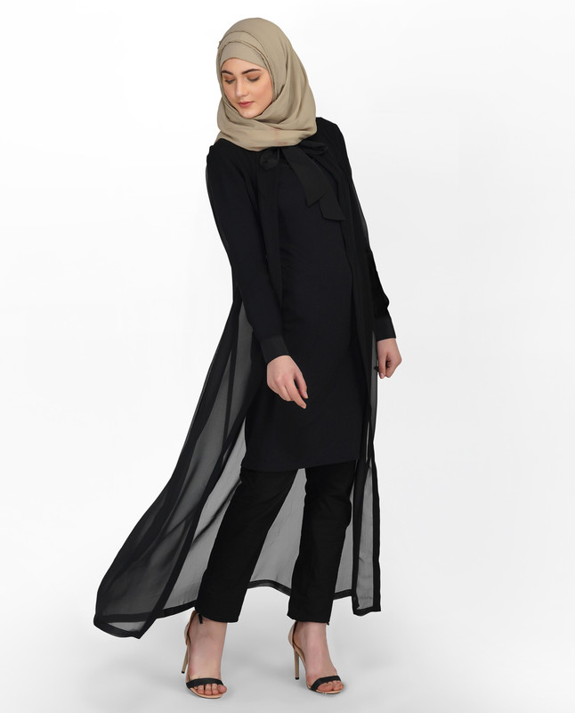 Sheer Black Neck Tie Up Outerwear
