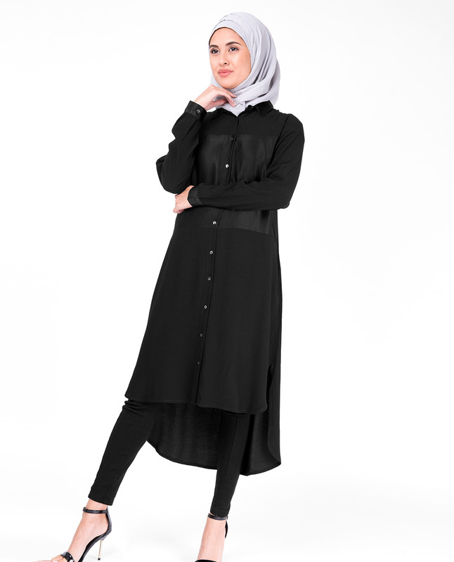 Sumo Satin Black Shirt Dress