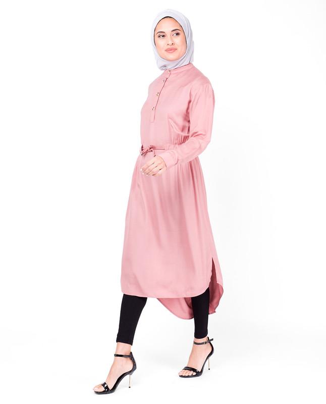 Rose Tan Neck Band Midi Dress