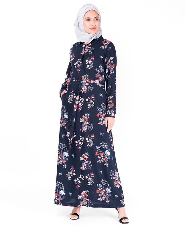Floral Self Tie Belt Abaya