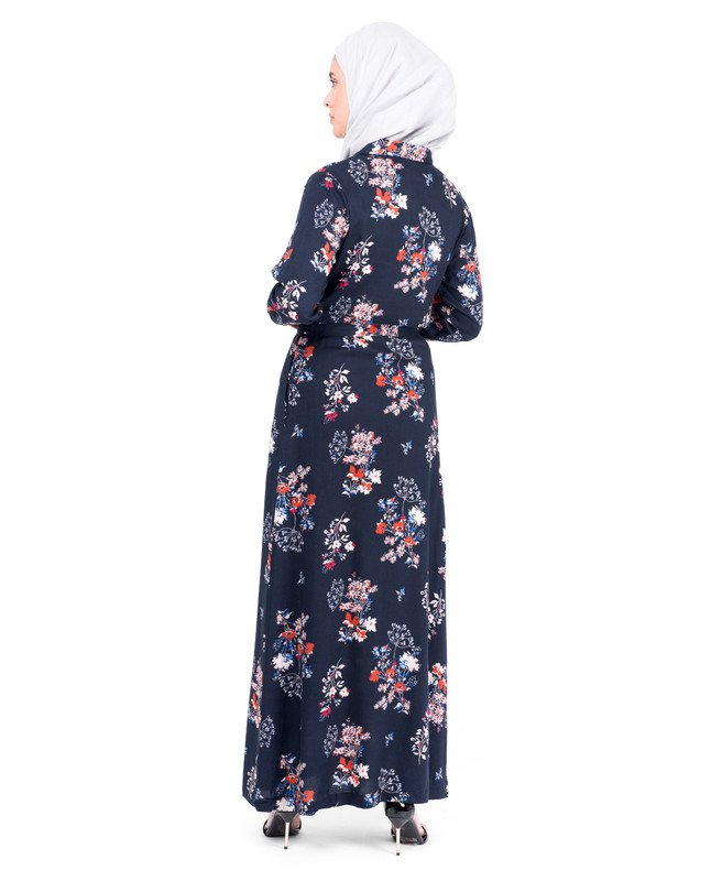 Floral Self Tie Belt Abaya