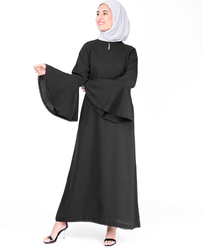 Bell Sleeve Black Lace Abaya