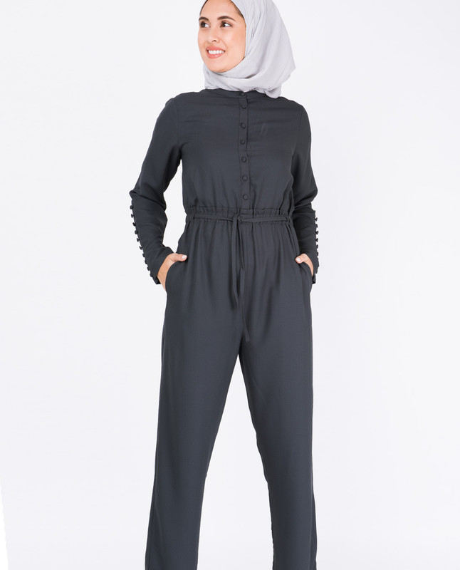 Charcoal Fabric Button Jumpsuit