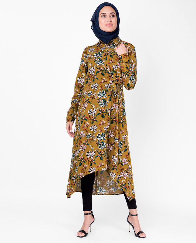 Floral Mustard High Low Midi