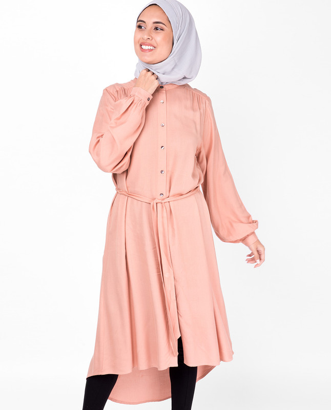 Balloon Sleeve Muted Clay Shirt Dress