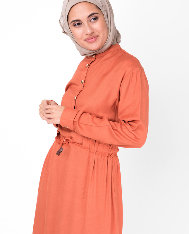 Rust Neck Band Midi Dress