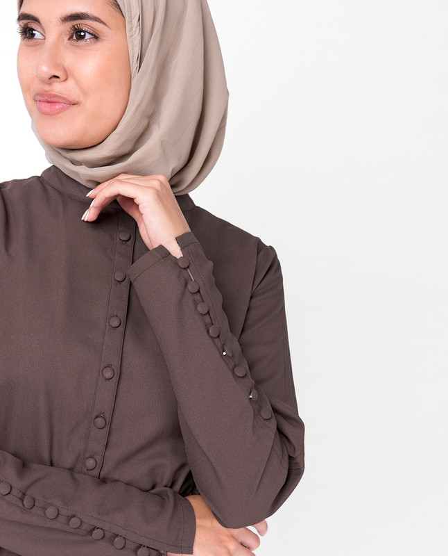 Deep Taupe Fabric Button Jumpsuit