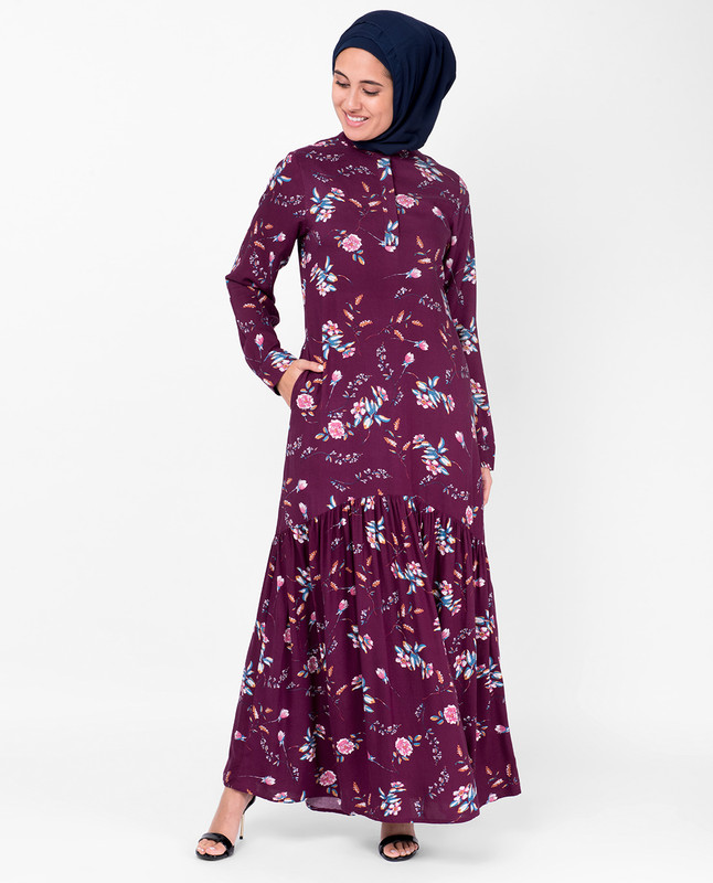 Cherry Floral Gathered Abaya