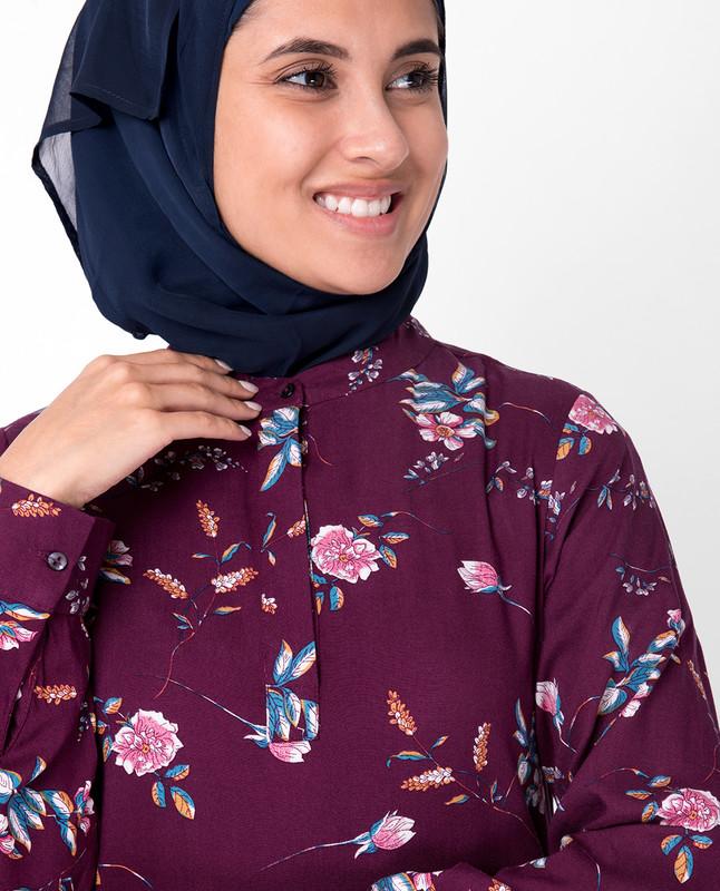 Cherry Floral Gathered Abaya