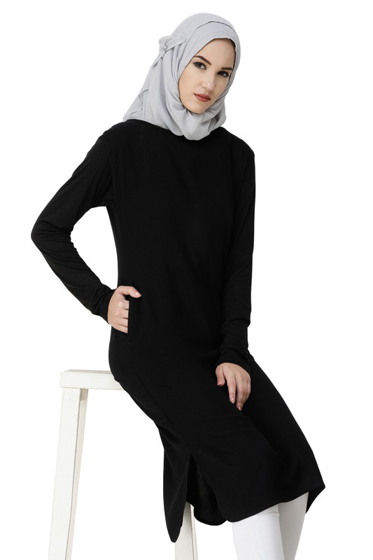 Boat Neck Black Rayon Slip Dress