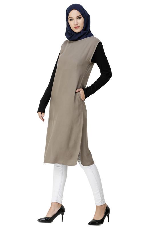 Boat Neck Brown Rayon Slip Dress