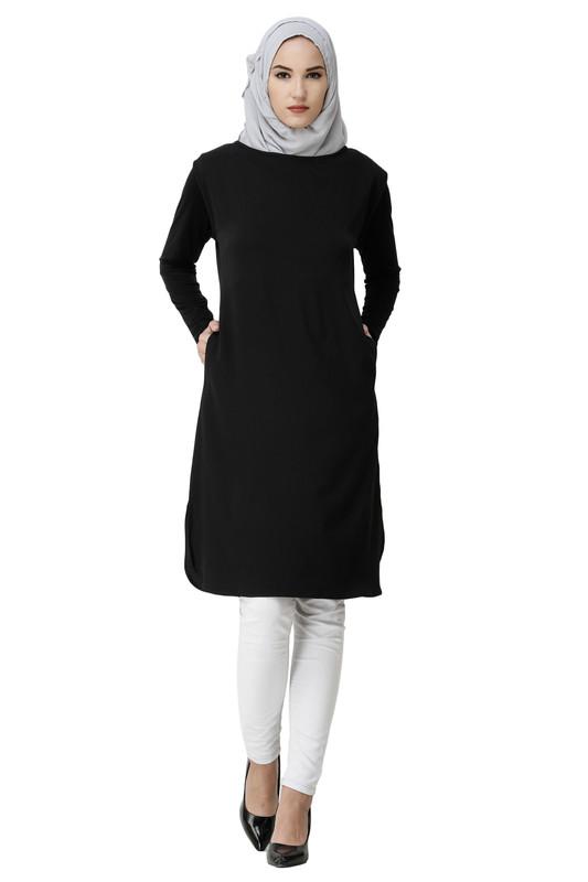 Boat Neck Black Poly Slip Dress