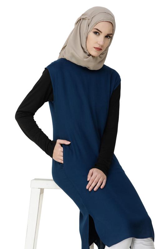 Boat Neck Blue Rayon Slip Dress