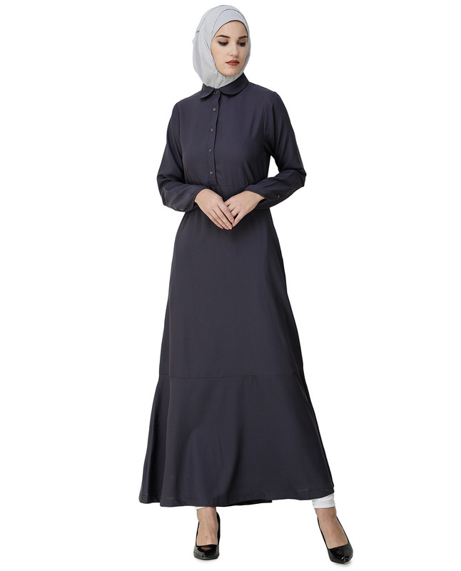 Graphite Grey Shirt Collar Flared Abaya