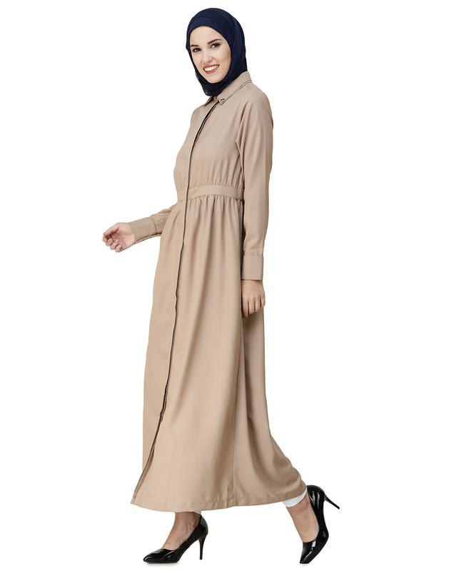 Gathered Waist Full Front Open Abaya