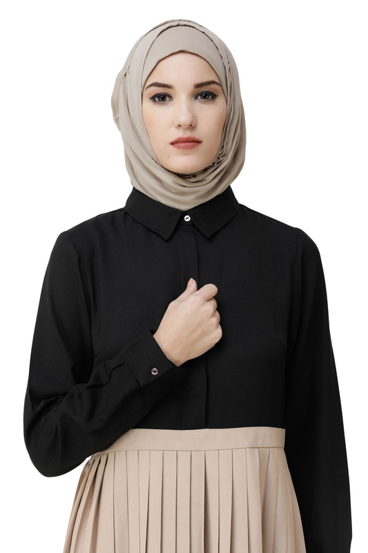 Black & Sand Pleated Skirt Abaya