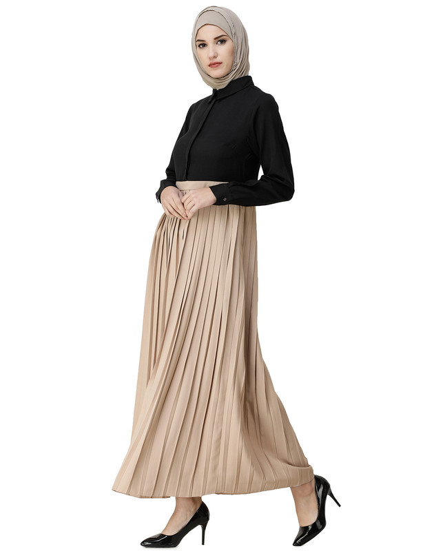 Black & Sand Pleated Skirt Abaya